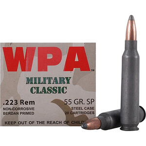 Wolf Military Classic .223 Remington Ammunition 55 Grain Bi-Metal Jacketed FMJ Steel Case