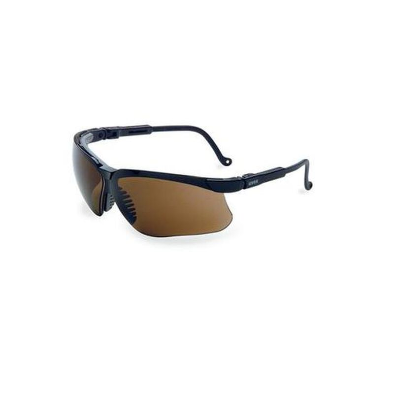 Uvex Genesis Dura Extreme Safety Glasses Brown Lenses Spatula Temples Black S3204