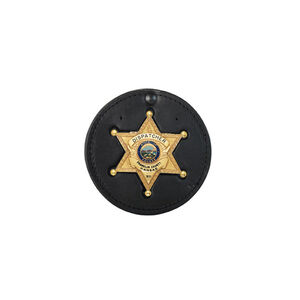 Boston Leather, Inc. 600-6008 Recessed Circle Badge Holder Feature: Hard Leather Badge Style: EVERSON ROSS #M396    Made in: US