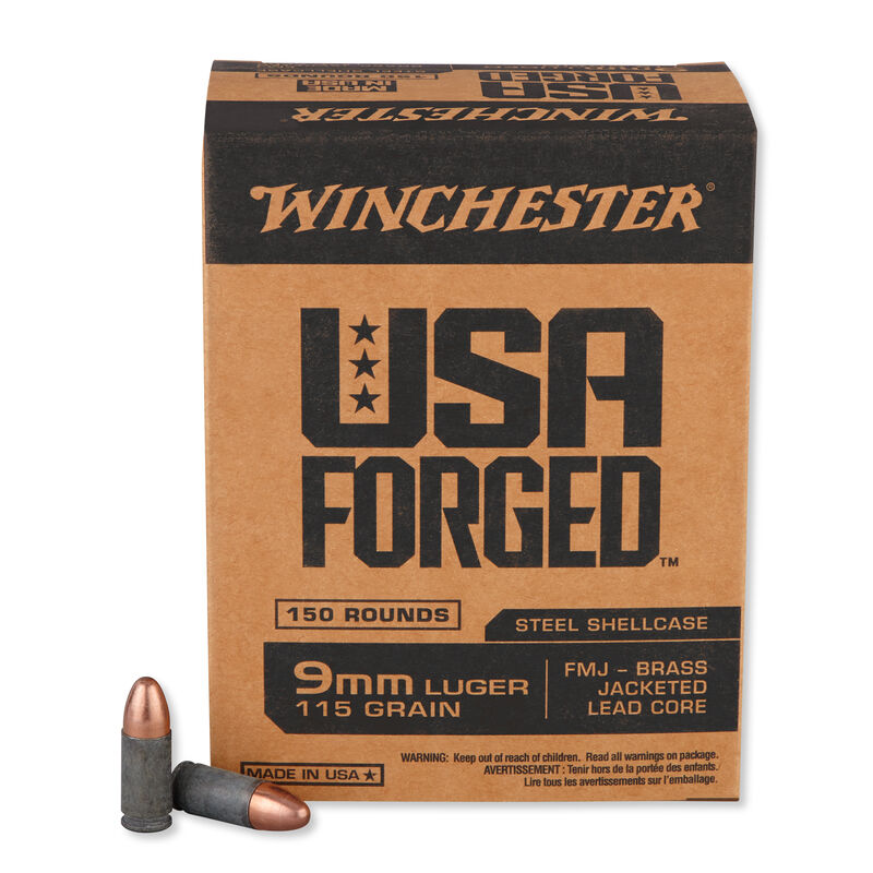 Winchester USA Forged 9mm Luger Ammunition 115 Grain Brass Jacketed Lead Core Bullet Steel