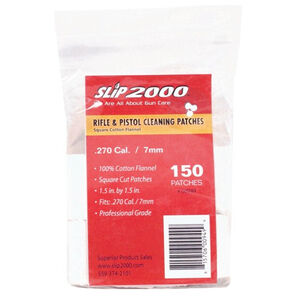 """Slip 2000 Rifle and Pistol Cleaning Patches 1.5"""" Square .270/7mm Cotton Flannel 150/Bag"""