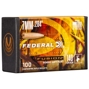 "Federal Fusion Bullets 7mm Caliber .284"" Diameter 140 Grain Fusion Bonded Soft Point Projectile 100 Count Per Box"