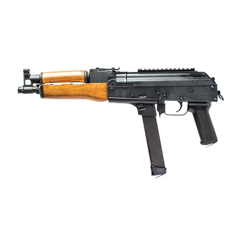 """Century Arms Draco NAK9 Semi Auto Pistol 9mm Luger 11.14"""" Barrel 33 Rounds Uses GLOCK 17/19 Magazines Picatinny Top Rail Polymer Grip Wood Forend Black Finish"""
