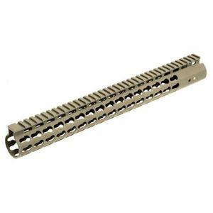 """Leapers UTG PRO AR-15 15"""" SuperSlim Free Float KeyMod Handguard Aluminum Cerakote FDE MTU019SSKD"""