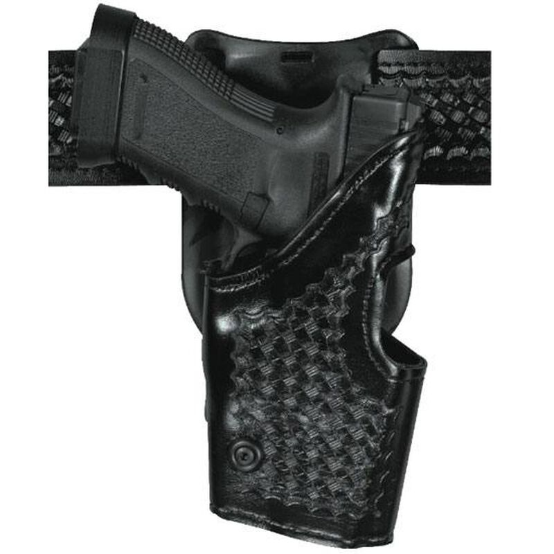 Safariland Model 295 Retention Duty Holster GLOCK 17, 19, 22, and 23, Mid-Ride, Right Hand, Basket Weave Black 295-83-81