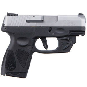 """Taurus G2S Slim 9mm Luger Semi Auto Pistol with Viridian Laser 3.2"""" Barrel 7 Rounds Single Action with Restrike 3 Dot Sights Thumb Safety Polymer Frame Stainless Finish"""