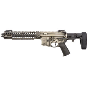 "Spikes Tactical Spartan Pistol AR-15 Semi Auto Pistol 5.56 NATO 8.1"" Barrel Spartan Forged Upper/Lower Barking Spider 10"" M-LOK Free Float Rail Maxim Defense Pistol Brace Battleworn Finish"