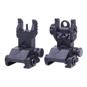 Guntec USA AR-15 EZ Sights Thin Profile BUIS Polymer Matte Black