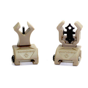 Diamondhead Diamond Integrated AR-15 Flip Up Sights Same Plane Polymer Dark Earth 1498