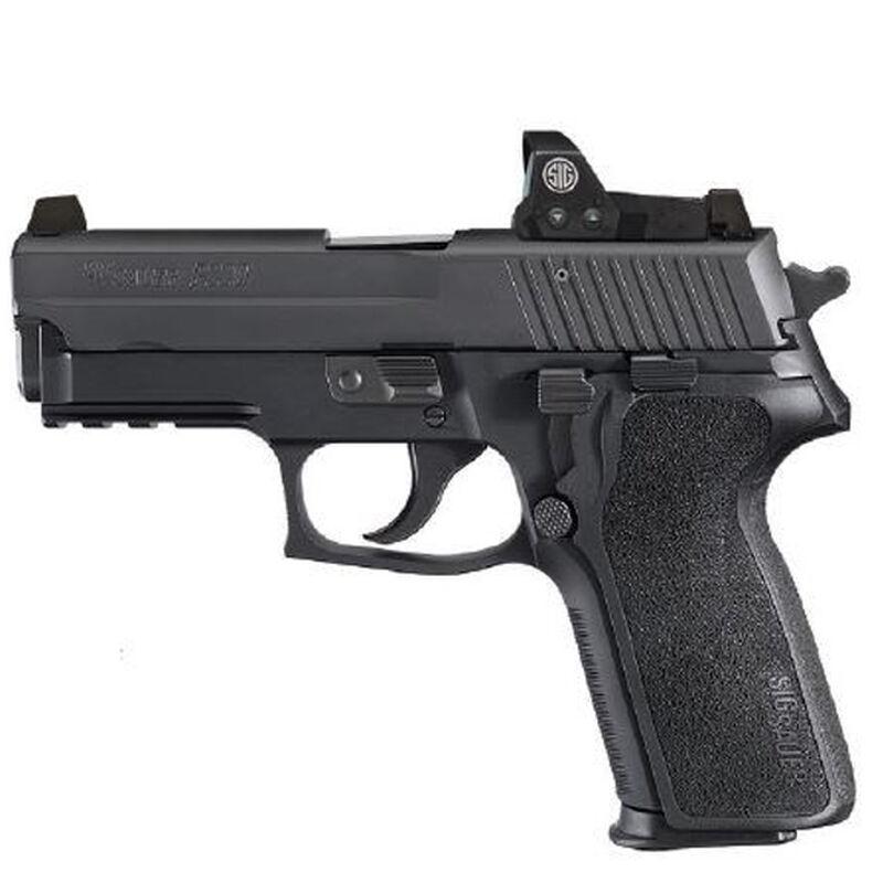 "SIG Sauer P229 Compact RX Semi Automatic Handgun 9mm Luger 3.9"" Barrel 15 Rounds Tall SIGLITE Night Sites Romeo1 Reflex Sight M1913 Accessory Rail Nitron Finish Matte Black"