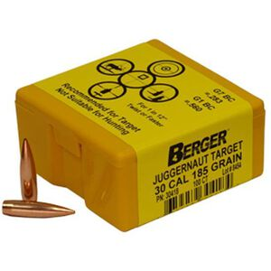 "Berger .30 Caliber .308"" Diameter 185 Grain Match Long Range Boat Tail Juggernaut Target Rifle Bullet 100 Count 30418"
