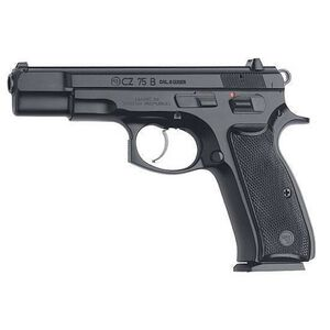 "CZ 75 B Semi Auto Handgun 9mm Luger 4.6"" Barrel 16 Rounds Fixed Sights Steel Frame Polymer Grips Black Polycoat Finish 91102"