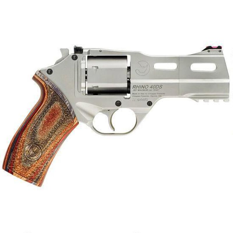 """Chiappa White Rhino 40DS Revolver 357 Mag 4"""" Barrel 6 Rounds Wood Grip Nickel Plated Finish"""