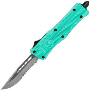 CobraTec Knives Small CTK-1 OTF Knife Partially Serrated Drop Point Satin D2 Steel Blade Aluminum Handle Tiffany Blue Finish Pocket Clip