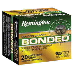 Remington Golden Saber Bonded 9mm Luger Ammunition 147 Grain Bonded Brass Jacketed Hollow Point 990 fps