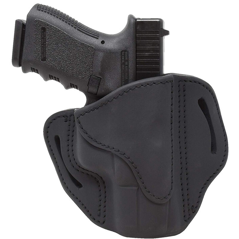 1791 Gunleather Open Top Multi-Fit 2.1 OWB Belt Holster for Sub Compact/Compact/Full Size Semi Auto Models Right Hand Draw Leather Black