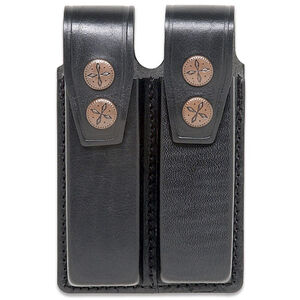 JBP Double Mag Pouch  Black Leather Fits Most 9mm, .40, .45 Magazines