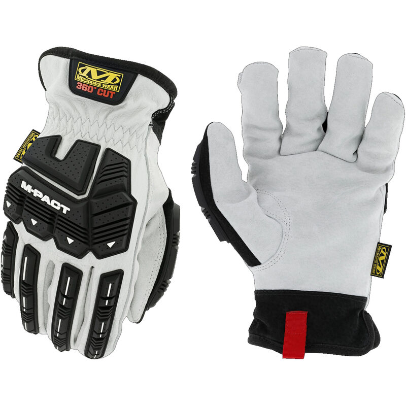 Mechanix Wear Durahide M-Pact Driver HD Driver F8-360 Gloves Size 2XL Leather and Synthetic Black and White