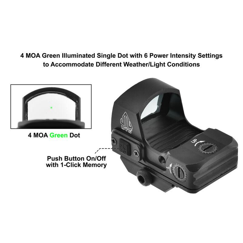 UTG Reflex Micro Dot, Green 4 MOA Single Dot, Adaptive Base