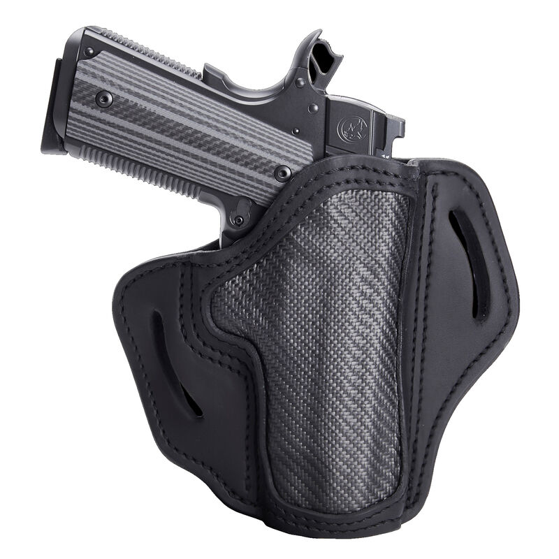 """1791 Gunleather Project Stealth CF-BH1 Multi-Fit OWB Belt Holster for 4""""/5"""" Full Size 1911 Models Right Hand Draw Carbon Fiber/Leather Black"""