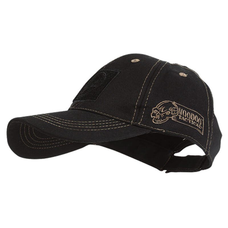 Voodoo Tactical Classic Cap with Removable Flag Patch One Size Black with Coyote Stitching.