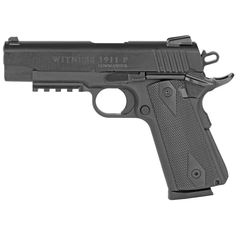 "EAA Witness Elite 1911 Commander 9mm Luger Semi Auto Pistol 4.125"" Barrel 8 Rounds Black Polymer Frame with Rail Black Finish"
