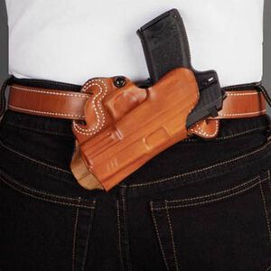 DeSantis Gunhide Small of Back GLOCK Fullsize and Compact, SW 990L, Ruger SR9, SR40 Belt Holster Right Hand Leather Tan 067TAB2Z0