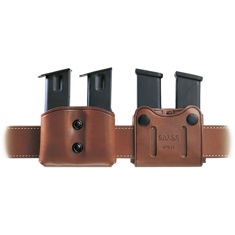 Galco DMC Double Mag Carrier for Doublestack 9mm 40S&W, Tan Leather