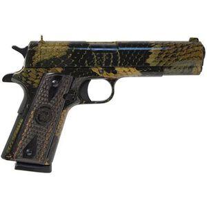 "Iver Johnson 1911A1 Boa Semi Auto Handgun .45 ACP 5"" Barrel 8 Rounds Checkered Wood Grips Black Boa Snakeskin Finish GIJBOA"