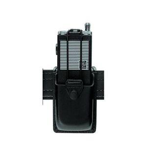 Safariland Model 761 Radio Carrier Safari-Laminate Hardshell STX Pouch Size 1 Bungee Cord Tie-down Snap Closure Hardshell STX Plain Black 761-1-13