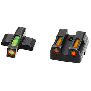 HiViz Litewave H3 Tritium/Litepipe fits HK VP/P30/HK45 Models Green Front Sight with Orange Front Ring/Orange Rear Sight Steel Housing Matte Black