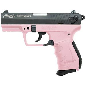"Walther PK380 Semi-Automatic Handgun .380 ACP 8 Rounds 3.66"" Barrel Fixed Sights Pink Polymer Frame Black Finish 5050311"