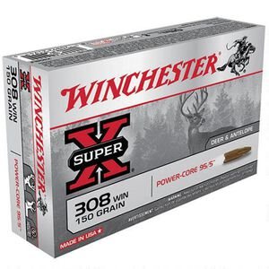 Winchester Super-X .308 Winchester Ammunition 150 Grain Power-Core Lead Free 2820 fps