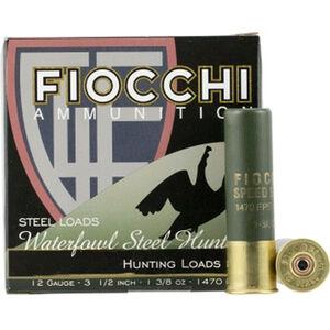 "Fiocchi Shooting Dynamics Speed Steel 12 Gauge Ammunition 25 Round Box 3-1/2"" #4 Steel Shot 1-3/8oz 1470fps"