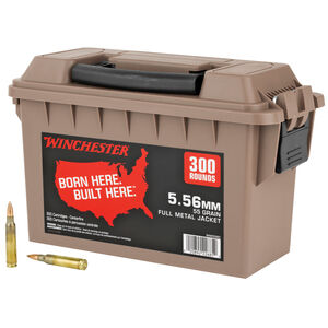 Winchester USA 5.56 NATO Ammunition 300 Rounds 55 Grain Full Metal Jacket 3270 fps Polymer Ammo Can