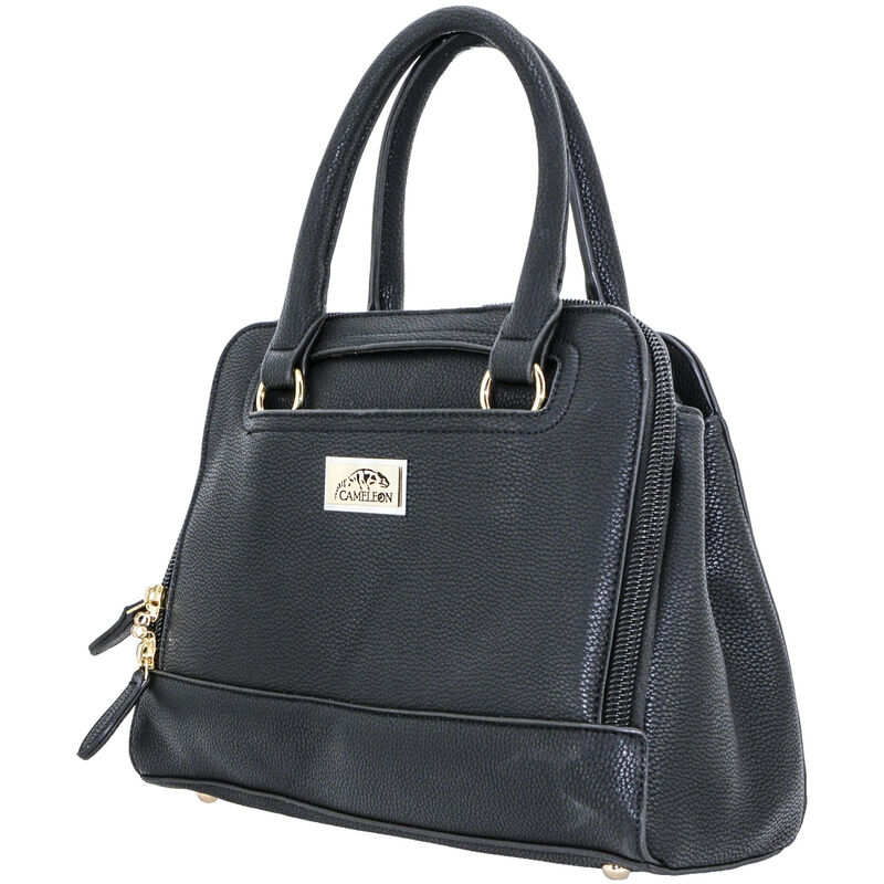 """Cameleon Belladonna Purse with Concealed Carry Gun Compartment 13""""x10""""x4"""" Synthetic Leather Black"""
