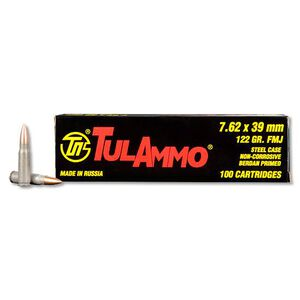 TulAmmo 7.62x39mm Ammunition 100 Rounds Steel Case FMJ 122 Grains UL076210
