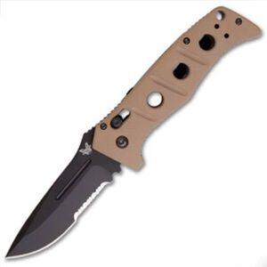 "Benchmade Knife Adamas Auto Folding 3.82"" ComboEdge Drop Point Black BK Coated D2 Tool Steel Blade G10 Scales Sand Pocket Clip 2750SBKSN"