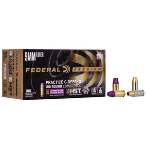 Federal Practice/Defend 9mm Luger Ammunition 100 Round Combo Pack 50 Rounds of 147 Grain FMJ and 50 Rounds of 147 Grain HST JHP 1000fps