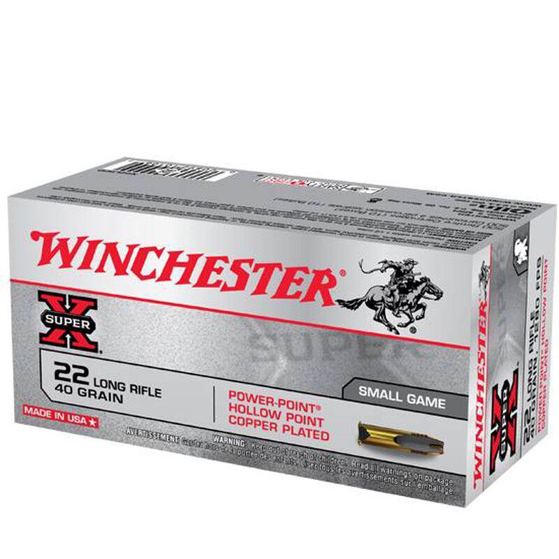 Winchester Super X .22LR Ammunition 40 Grain Copper Plated Power-Point HP 1280 fps