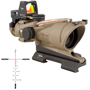 Trijicon ACOG TA31 4x32 Rifle Scope Dual Illuminated Red Crosshair Reticle with 3.25 MOA RMR Type 2 Sight ACOG Quick Release Mount Forged Aluminum Housing Flat Dark Earth