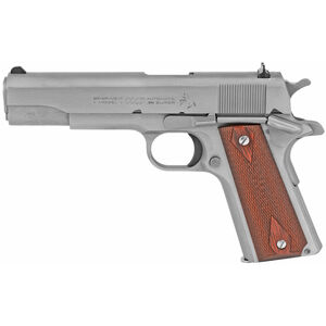 "Colt Classic 1911 Series 70 Government Model .38 Super Semi Auto Pistol 5"" Barrel 9 Round Fixed Sights Rosewood Grips Stainless Steel Finish"