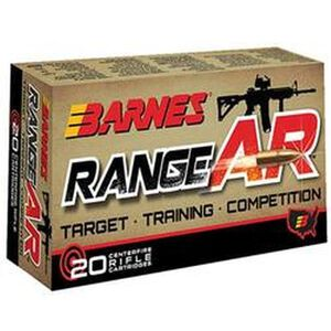 Barnes Range AR 5.56 NATO Ammunition 20 Rounds Lead Free OTFB 52 Grains BB556Z1