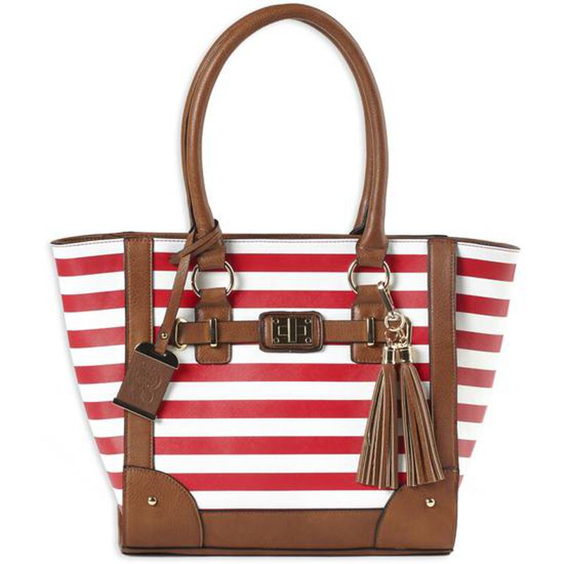 Bulldog Cases Raspberry and White Stripe Tote Purse with Holster and Conceal Carry Pocket
