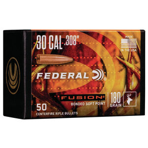 "Federal Fusion Bullets .30 Caliber .308"" Diameter 180 Grain Fusion Bonded Soft Point Projectile 50 Count Per Box"