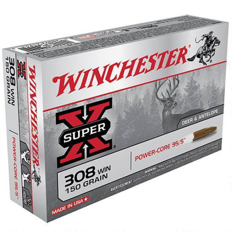 Winchester Super-X .308 Winchester Ammunition 150 Grain Power-Core Lead Free 2820 fps