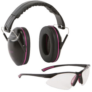 Allen Gamma Junior Shooting Passive Earmuff & Safety Glasses Combo Kit Black/Orchid