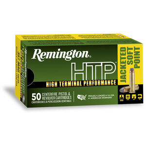 Remington .44 Remington Magnum HTP Ammunition 50 Rounds, Jacketed Soft Point, 240 Grains