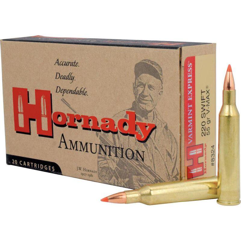 Hornady Varmint Express .220 Swift Ammunition 20 Rounds 55 Grain Hornady V-Max Polymer Tip Projectile 3680fps