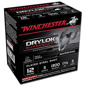 "Winchester Drylok 12 Ga 3"" #3 Plated 1.375oz 25 Rounds"